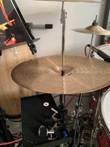 putting cymbals on