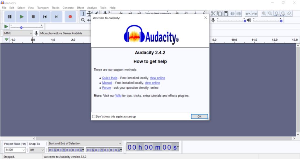 Audacity screen